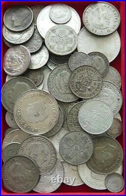 COLLECTION SILVER WORLD COINS, LOT ONLY SILVER, 71PC 639G #xx9 2009