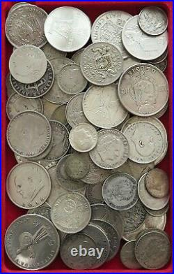 COLLECTION SILVER WORLD COINS, LOT ONLY SILVER, 79PC 591G #xx9 2023
