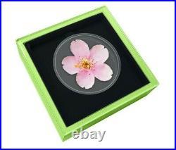 Cherry Blossom World Enchanting Flower 2021 $2 1 Oz Fine Silver Coin Niue