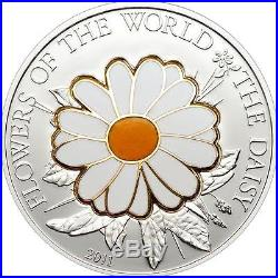 Cook Islands 2011 Flowers of the World Daisy in Cloisonné 25g Silver Proof Coin