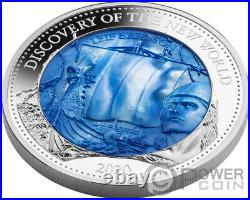 DISCOVERY NEW WORLD Mother Of Pearl 5 Oz Silver Coin 25$ Solomon Islands 2020