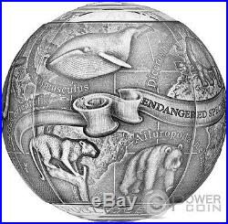 ENDANGERED ANIMALS SOS To The World 7 Oz Silver Coin 5000 Francs Cameroon 2017