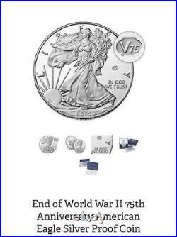 End Of World War II 75th Anniversary Silver Eagle PCGS PR70 DCAM First Strike