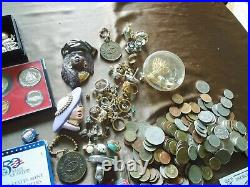 Estate Box #1 World/us Coins, Tokens, Year Sets. Silver Coins, Jewelry And More