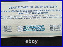 Football Diego Maradona Champion, 1986 Mexico World Cup, 3 Silver BU Coins