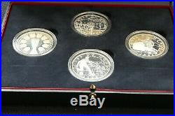 France 1996-1998 World Cup 4 proof silver coins in official case & COA's
