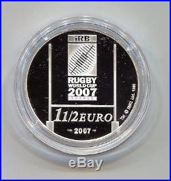 France Rugby World Cup Official 2007 1 1/2 Euro Silver Proof Coin in Display Box