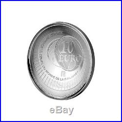 France Silver Proof 10 Euro Coin Fifa 2014 World Cup Brasil Curved Anacs Pr69