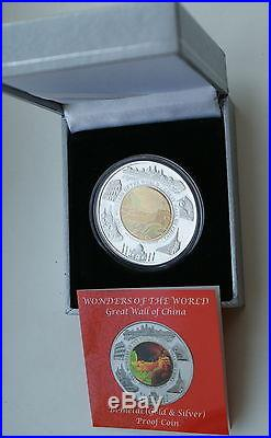 GREAT WALL OF CHINA -THE WONDERS OF WORLDBiMetal HOLOGRAM COIN-CAMBODIA RARE