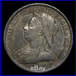 Great Britain 1897 Veil Head Crown Choice aUNC World Silver Coin