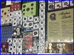 Huge Lot 400+ USA&World Coins/Stamp1893/SilverProof/Mercury/IKE/Buffalo/Barber