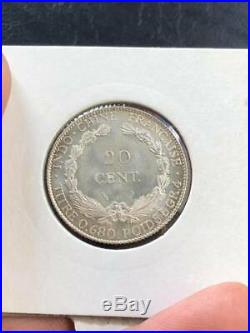 INDOCHINE COINS 20 Cents Silver 68% 1923 NGC MS-67 Top 1 on The World LDP Shop