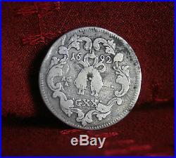 Italian States 20 Grana Tari Naples 1692 Silver World Coin Italy Carlos II