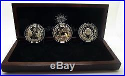Kiribati 2000 World's 1st Millennium 3 Proof Coin Set With Wood Box Free Shipping