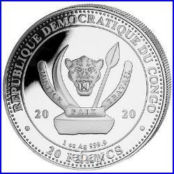 Kongo 20 Francs 2020 Der Wal World´s Wildlife (2.) teilveredelt 1 Oz Silber ST