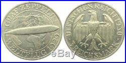 LG RARE 1930 ZEPPELIN WORLD FLIGHT SILVER COIN Karlsruhe Mint ONLY 61,000 ISS BU