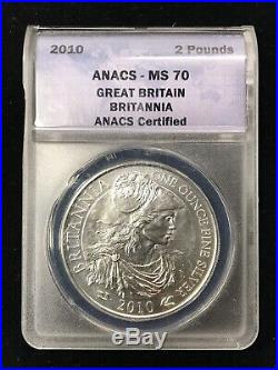 LOT OF 6 2010 1 oz SILVER WORLD COINS VARIETY SET ANACS MS70