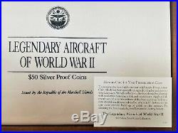 Legendary Aircraft Of World War II $50 Proof Silver Coin Set Marshall Islands