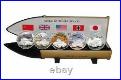 Liberia 5$ 2008 Tanks of World War II 5 Coins x 28 g Silver. 999