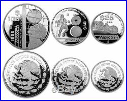 MEXICO 175 Pesos 3-Coin Silver 54.43g Proof Set 1985 World Cup Soccer Box/CoA