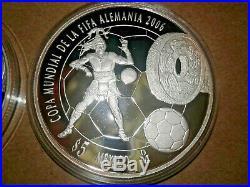 MEXICO 5 Pesos 2006 World Cup Soccer / Football Mo Proof Silver Coins