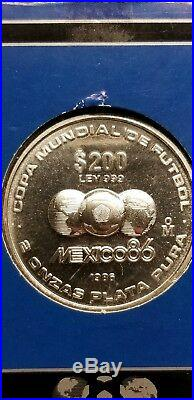 MEXICO 86 Soccer World Cup 2 Oz. Pure Silver Coin Extremely Rare