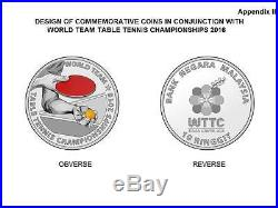 Malaysia 2016 The World Team Table Tennis Championships Proof Coin Set Of 2