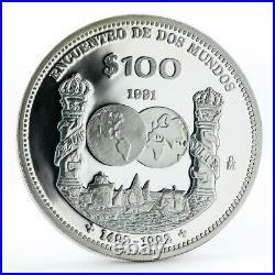 Mexico 100 pesos Ibero-American Encounter of Two Worlds Ships silver coin 1991