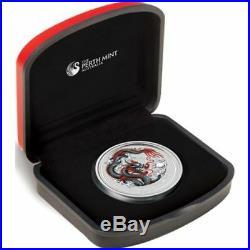 NEW 2012 Year of the Black DRAGON 1oz Silver Coloured Coin WORLD MONEY FAIR
