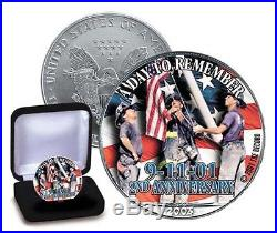 NEW WORLD TRADE CENTER 2nd ANNIVERSARY FIREFIGHTERS SILVER EAGLE DOLLAR. 999