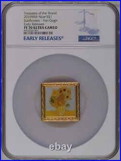 NGC PF70 Niue 2019 Treasures of the World Van Gogh Sunflowers Silver Coin