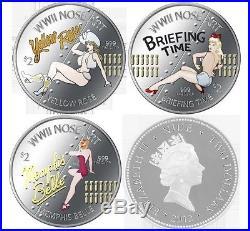 Niue 2012 $2 World War II Nose Art Proof 3 x 1 Oz. 999 Silver Coin Set LIMITED