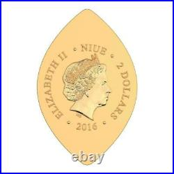 Niue 2014 $2 World Heritage SOLOMON 1 Oz Gilded Silver Coin