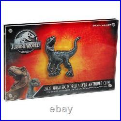 Niue 5 Dollar 2021 Jurassic World Velociraptor 2 Oz Silber Antik Finish