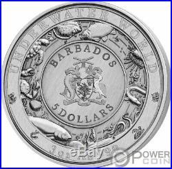 OCTOPUS Underwater World 3 Oz Silver Coin 5$ Barbados 2021