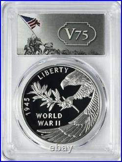PRESALE, 2020 End of World War II 75th Anniversary Silver Medal PR70DCAM FS PCGS