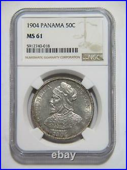 Panama 1904 50 Centesimos De Balboa Ngc Graded Ms61 Silver World Coin