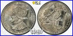 Panama 1953 Balboa 50th Anniversary Pcgs Graded Ms64 Silver World Coin