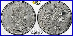 Panama 1953 Balboa 50th Anniversary Pcgs Graded Ms65 Gem Silver World Coin