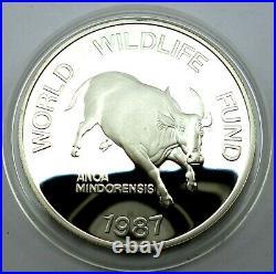 Philippines 200 Piso 1987 Silver coin proof World Wildlife Fund Mindoro Buffalo