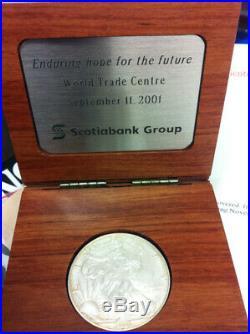 Rare 2001 WTC World Trade Center ScotiaMocatta Scotia Bank 1 OZ Silver Eagle COA