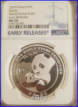 Rare POP = 9 NGC MS70 2019 Silver Panda Coin 30gram World Stamp Expo ER COA