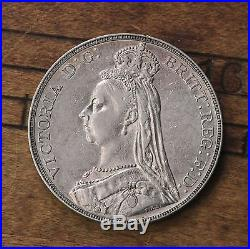Raw 1889 Great Britain 1 Crown Victoria Old World Silver Coin Nice Detail Coin