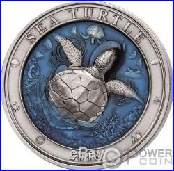 SEA TURTLE Underwater World 3 Oz Silver Coin 5$ Barbados 2018