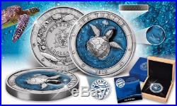 Sea Turtle Underwater World 2018 3 Oz $5 Ultra High Relief Silver Coin Barbados