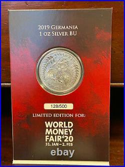 Silbermünze 1oz Germania 2019 World Money Fair Blister Ltd. Ed. 500 Stk #128