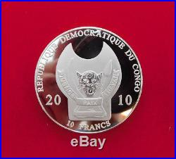 Silver Congo 2009 10 Fr coins, 11 Warriors of The World Collection