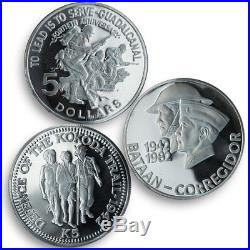 Solomon, Pilipinas, Guinea set of 3 coins World War II 1982