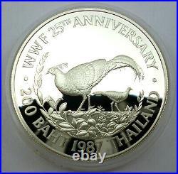 Thailand 200 Baht 1987 Silver coin proof World Wildlife Fund Fireback pheasant