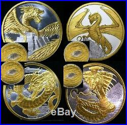 The Aztec Welsh Chinese Egyptian World Of Dragons Silver 1 Ounce 1oz 24k Gold